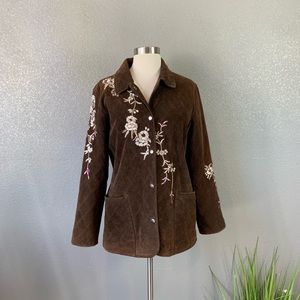 Avanti embroidered suede jacket medium